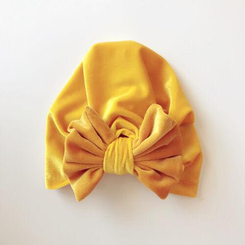 Toddler Baby Girls Pompom Flower Bow Turban Soft Warm Hat Kids Head Wrap Cap