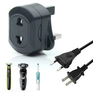 EU-2-Pin-To-UK-3-Pin-Fused-Adaptor-Plug-Black-For-Shaver-Toothbrush