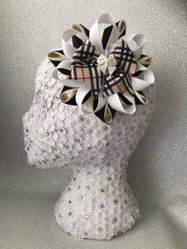 Handmade beige//black//white tartan//plaid pattern large Harajuku romany hair bows