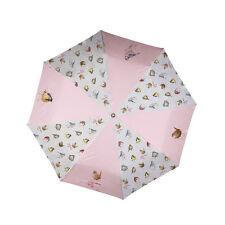 Folding Umbrella Wrendale Designs Garden Birds Animal Pink umbrella