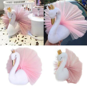 3d Swan Doll Stuffed Toy Hanging Gold Crown Animal Head Wall Art Decoration