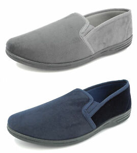 Top Quality Mens Zedzzz Navy Blue Velour Comfortable Warm Slippers