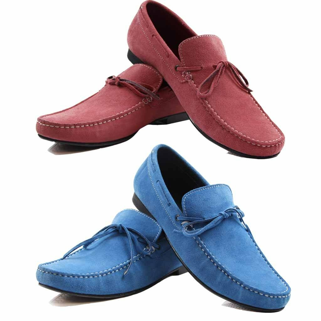 ZASEL MENS blueE SUEDE LEATHER CASUAL BOAT DECK DRIVING LOAFERS SNEAKERS SHOES