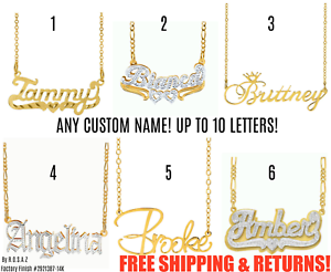 Personalized FINE Sterling Silver 14K Gold ANY Name Plate Necklace + Free Chain