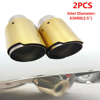 """Modified 55MM //2.1/"""" Car Outlet Rolled Exhaust Muffler End Tip Pipe Steel Chrome"""