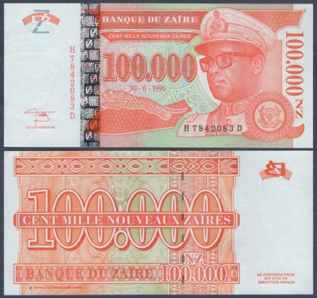 ZAIRE 100,000 100000 Nouveaux Zaires X 5 PCS 1996 P-77 1//20 Bundle UNC