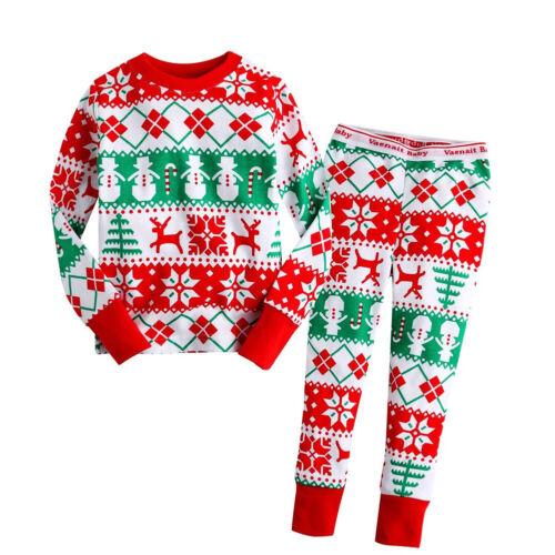 UK Christmas Children Kids Baby Boy Girl Xmas PJ/'s Cotton Nightwear Pyjamas Gift