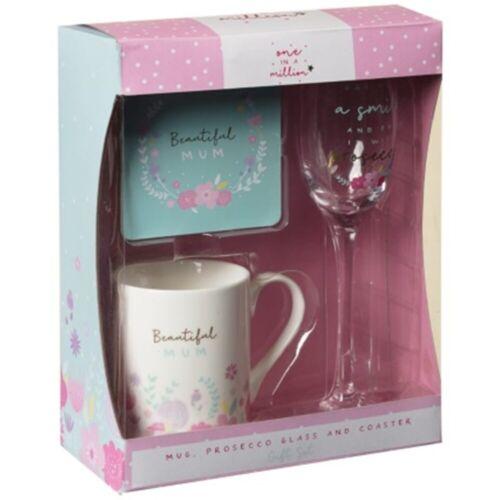 Coaster /& Prosecco Glass Gift Set Enjoy a Warm Cup of Tea or Coffee New M19 Mug