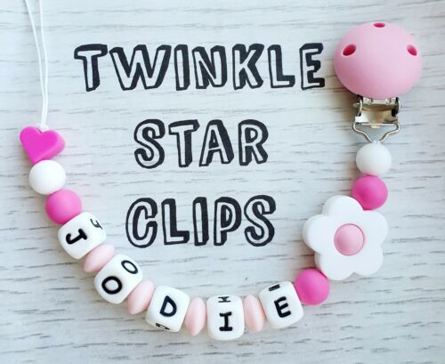 Full Silicone Range Personalised Dummy Clip With Silicone Clip Girls Pink Flower