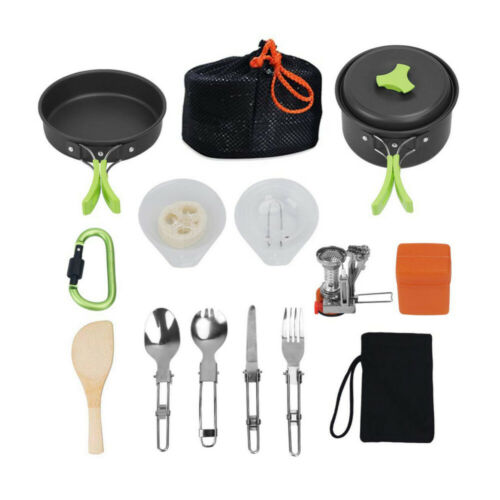 1 Set Portable Outdoor Camping Cookware Kit with Hiking Gear Cooking Equipment