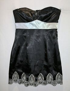 TEMT-Brand-Black-Silver-Strapless-Fit-amp-Flare-Dress-Size-10-BNWT-SX95