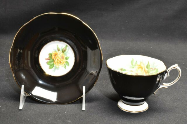 Royal Albert Yellow Tea Rose Black Cup & Saucer