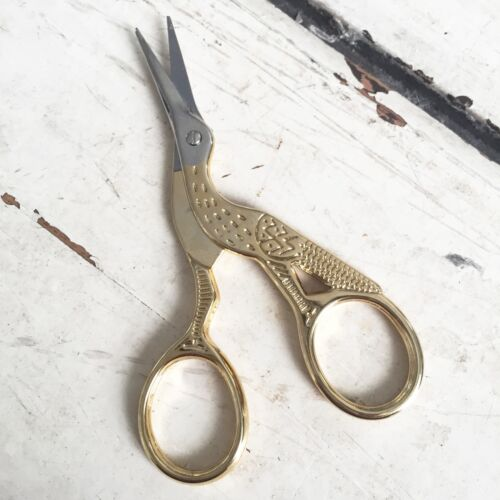 Gold Hummingbird Stork Bird Embroidery or Manicure Scissors Sewing Craft Gift