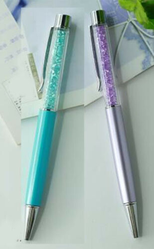2 crystal  ball point pens made with Swarovski crystal elements  sky blue/&silver