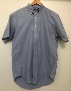Ralph-Lauren-Mens-Short-Sleeve-Shirt-Classic-Fit-Blue-Medium-Size-M