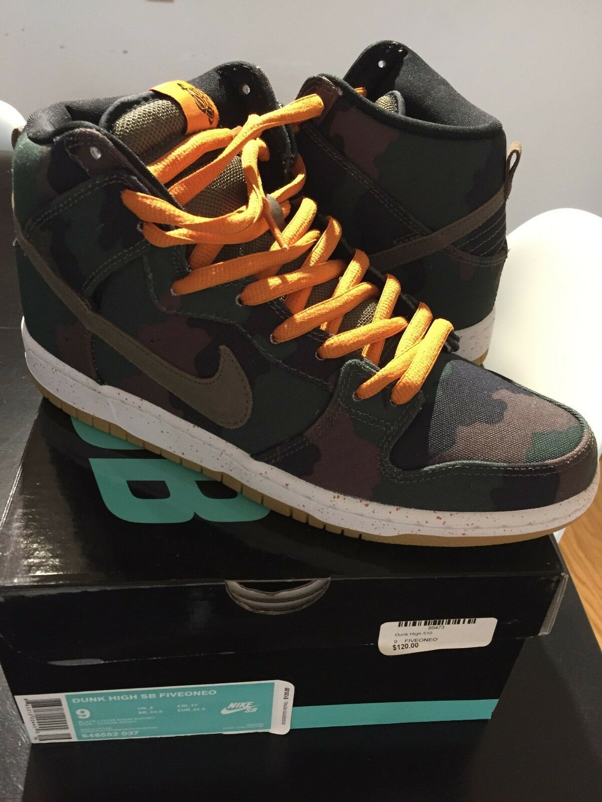 NIKE DUNK HIGH SB FIVEONEO 510 CAMO MENS SIZE 9 DS BIN