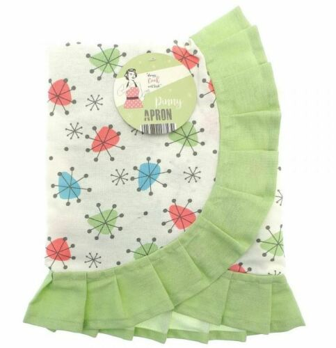 VINTAGE RETRO STYLE 50/'S INSPIRED GREEN PINNY COOKING WAIST KITCHEN APRON