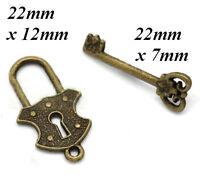 Miniature Dolls House Old Large Lock & Key Set Diy Door Tudor Fitting Shed Lgw