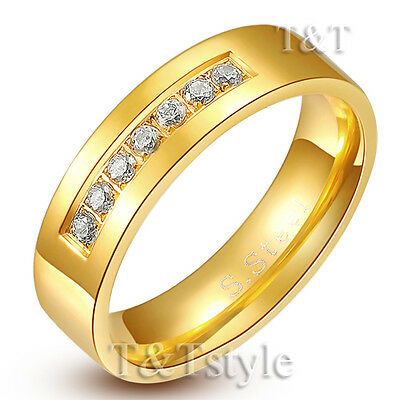 TTstyle 6mm Stainless Steel Eternity Engagement Wedding Band Ring Size 5-14