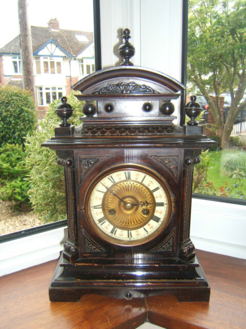 Cloak Hac vintage mantel clock working striking Mahogany 14 day ceramic face M5
