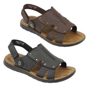 Sandali-UOMO-VERA-PELLE-NERO-MARRONE-infilare-Muli-Pantofole-Da-Passeggio-cinturino-posteriore