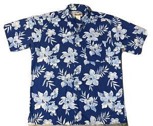 Vintage Hibiscus Floral Print Aloha Shirt L Sz