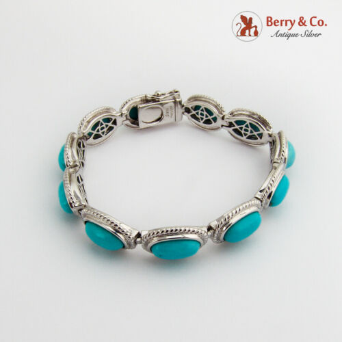 Details about  /Oval Turquoise Link Bracelet Sterling Silver Thailand