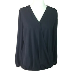 Apt-9-Womens-Top-Wrap-Front-Long-Sleeve-Relaxed-Blouse-Black-Size-S