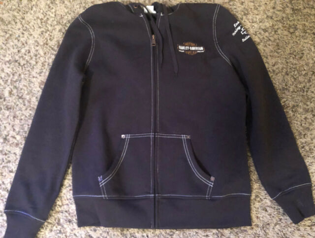 Women's Embroidered Harley Davidson Hoodie Sweatshirt Size M Medium