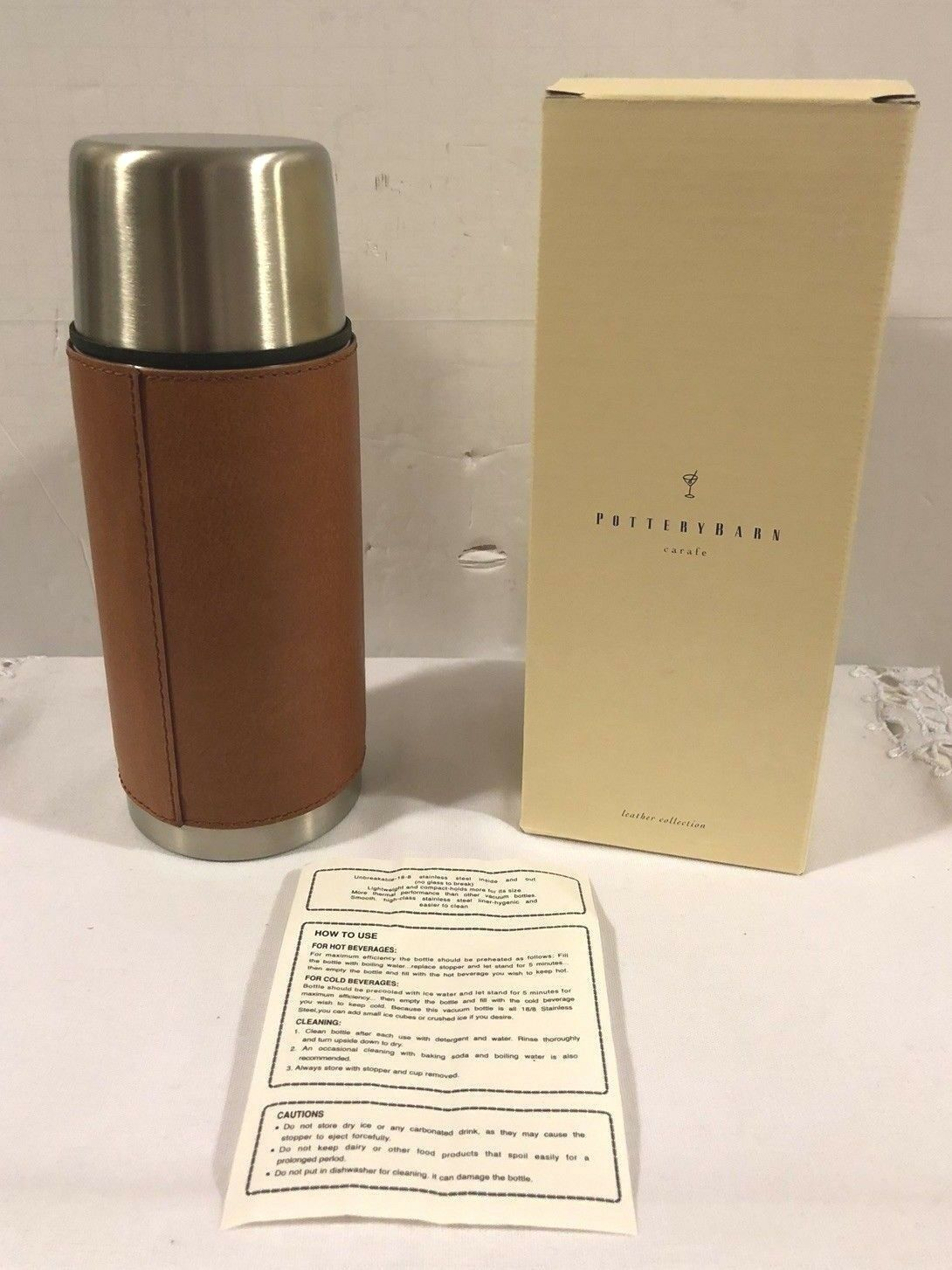 Rare Pottery Barn Leather Collection Stainless  steel Carafe Thermos new in box  free shipping