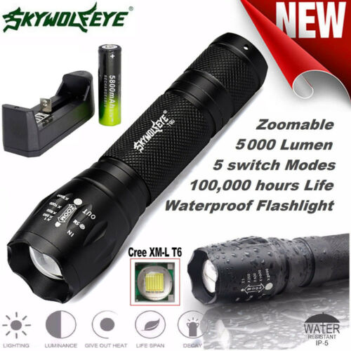 Skywolfeye X800 Tactique Lampe Torche Led Militaire G700 Chargeur Batterie