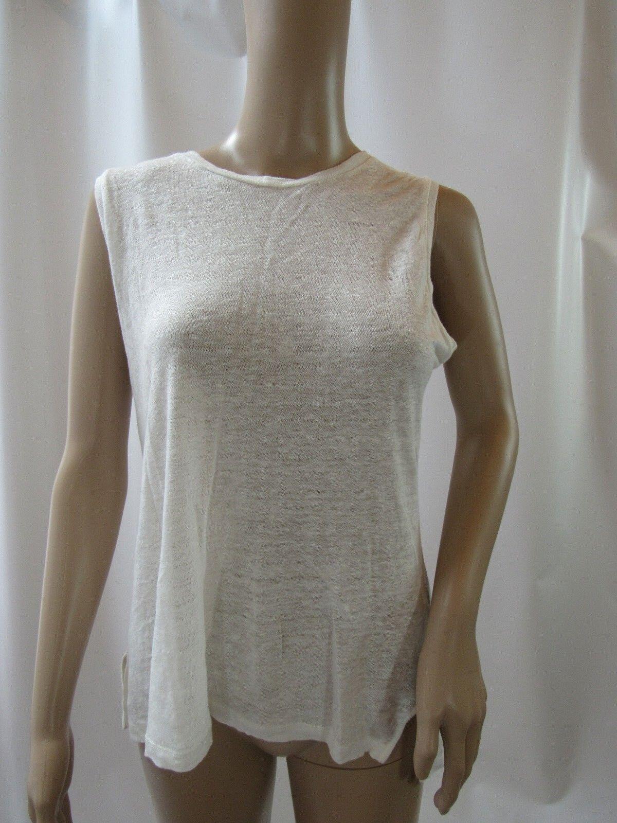 RAG&BONE JEAN Sleeveless Solid White Linen Top Size S