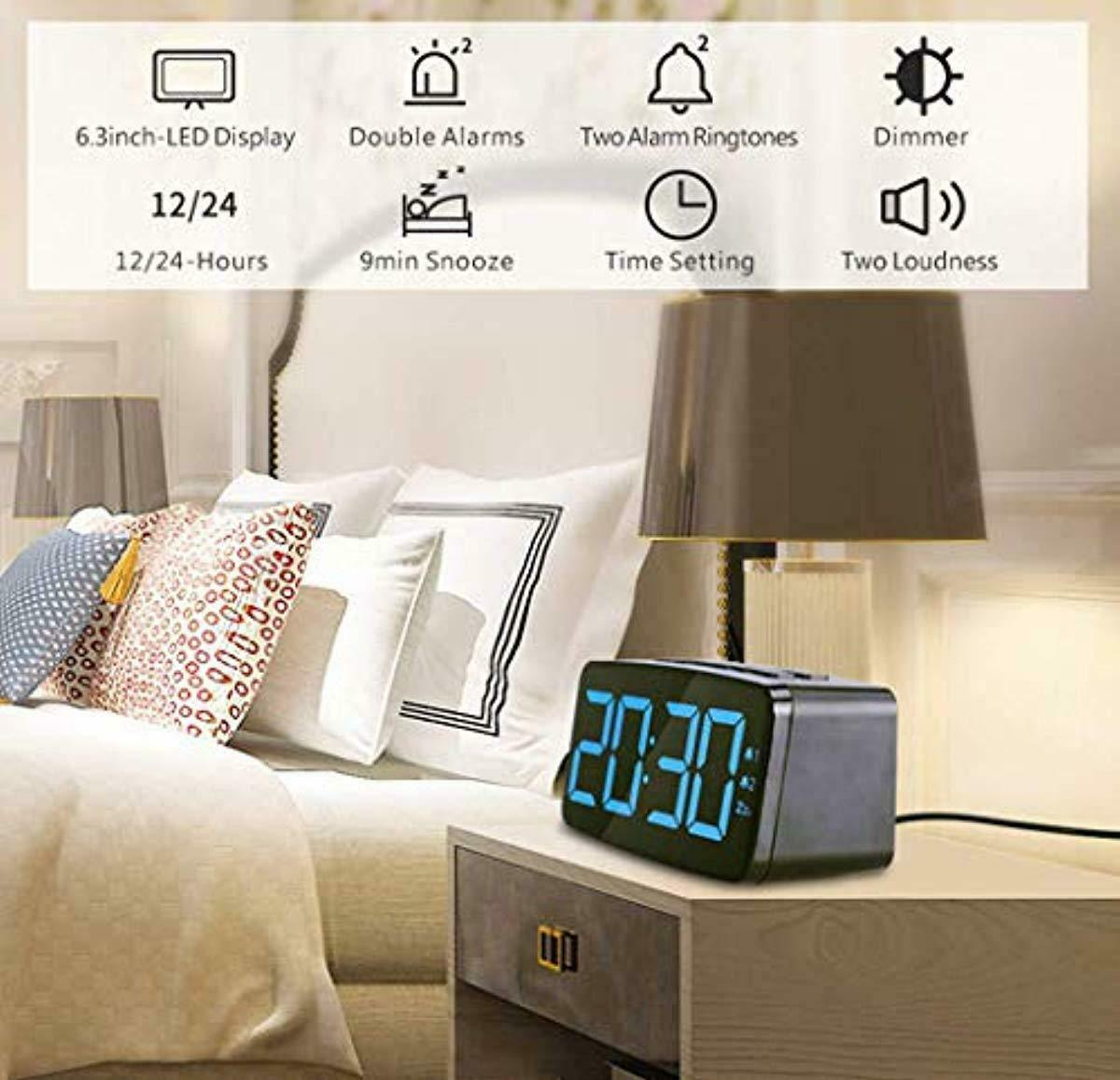 Digital Alarm Clock with USB Charger Port, Adjustable Brightness for Bedroom