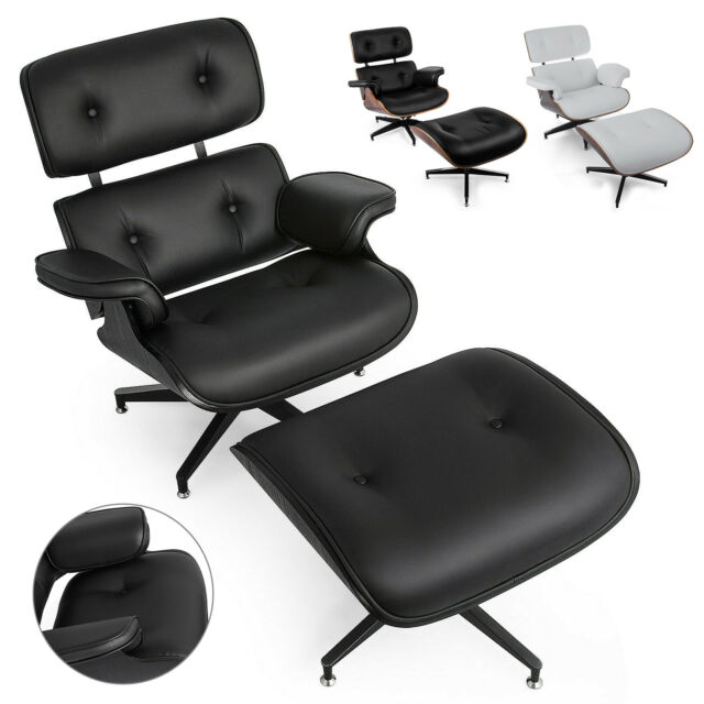 Admirable Classic Eames Style Lounge Chair Ottoman Recliner Pu Leather Heavy Duty Pro Pdpeps Interior Chair Design Pdpepsorg
