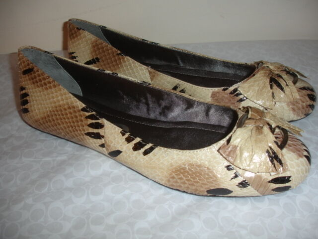 Nuevo Nuevo Nuevo Dkny blanco Talla 10 Piel Serpiente Diseño Pisos Ballet Zapatos Puntera rojoonda Mujer Bonita  compra en línea hoy