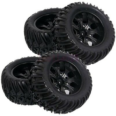 4PCS RC 1/10 Off-Road Monster Bigfoot Truck Rubber Tyres Tires & Wheel Rim 88005