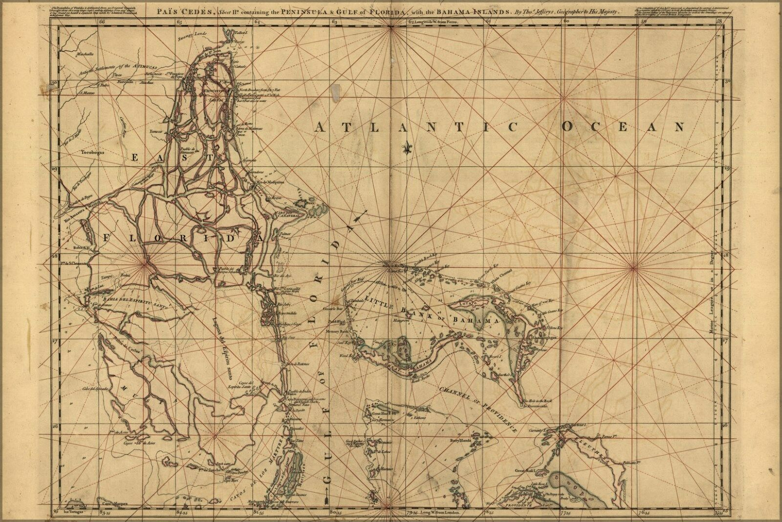 Plakat, Viele Größen; Karte von Ost Florida & Bahama Inseln 1768 P1