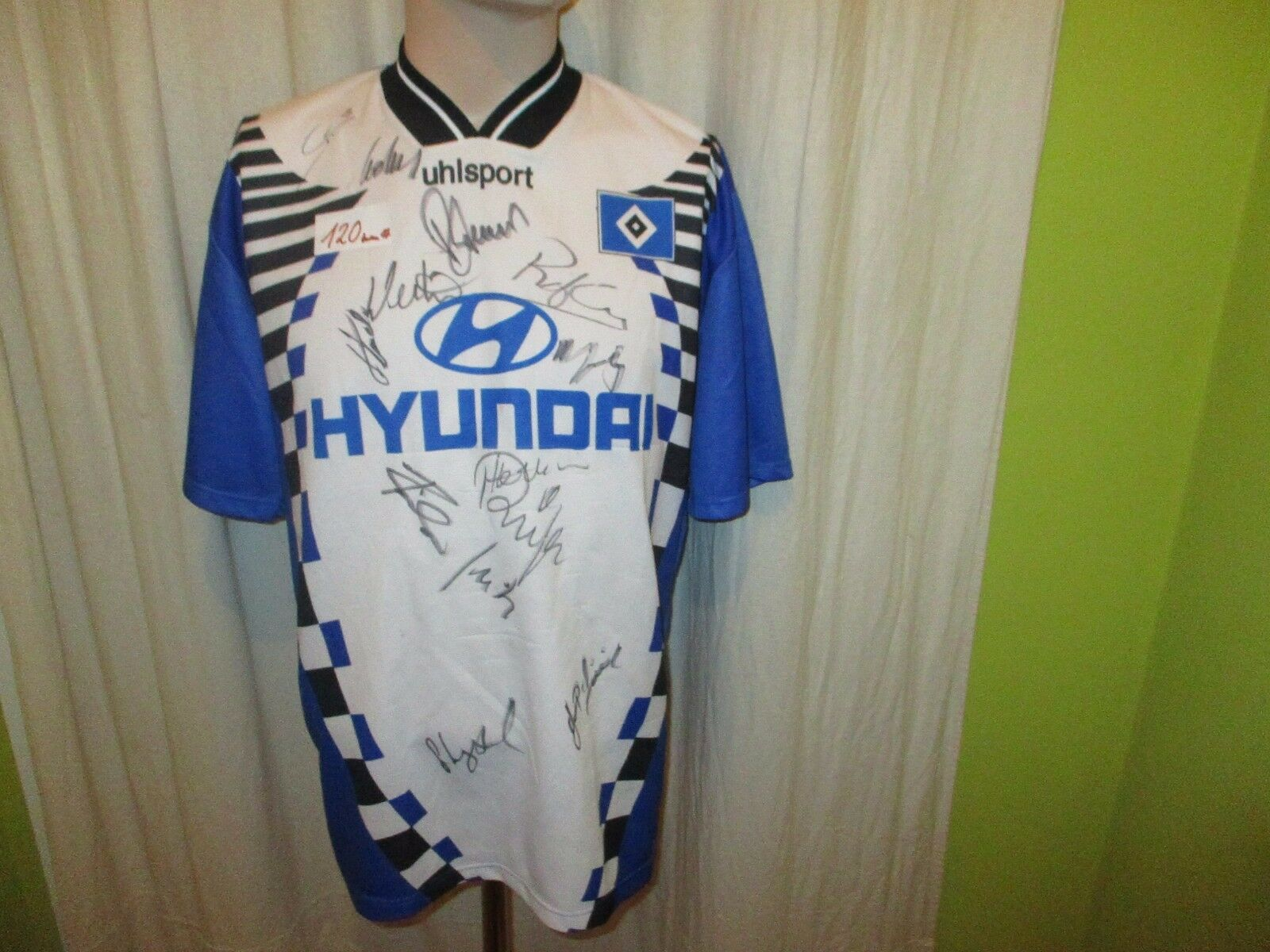 Hamburger SV uhlsport Auswärts Trikot 1996 97  HYUNDAI  + Handsigniert Gr.L  | Verkauf