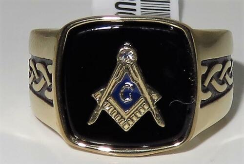 Anillo de oro para hombre Masónico Negro Ónix firmante militar Pinky Acero 18kt todos los tamaños 3223