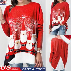 Women-Merry-Christmas-Tunic-Tops-Blouse-Santa-Claus-Print-Long-Sleeve-T-shirt-US