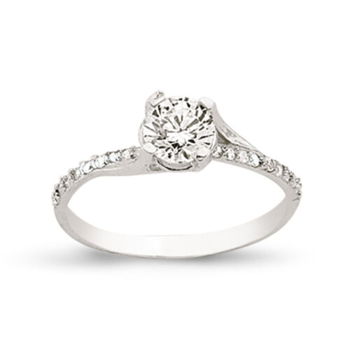 STERLING SILVER LADIES CZ SOLITAIRE ENGAGEMENT RING CUBIC ZIRCONIA WEDDING BAND