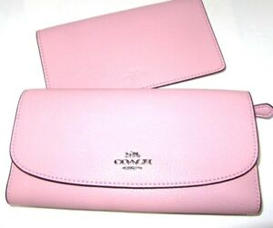 9cc2ad47cdad66 Coach Blush 2 Pink Pebbled Leather Checkbook Wallet F16613 Authentic ...