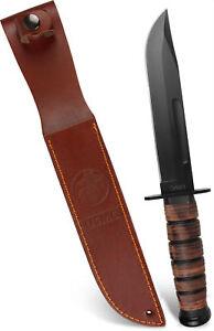 USMC-Outdoor-Messer-aus-Carbonstahl-Griff-mit-Lederriemen-inkl-Lederscheide