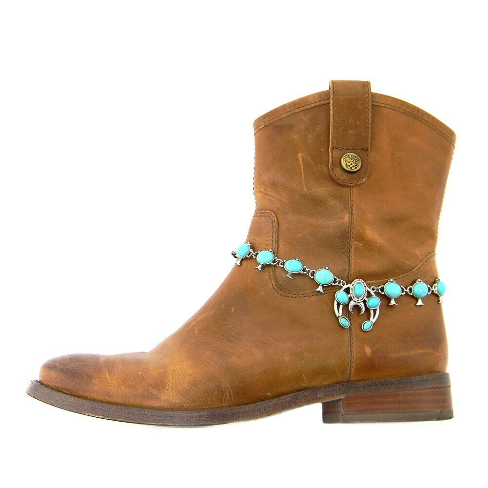 Crooked Fence Squash Blossom Boot Chain Turquoise/Silver