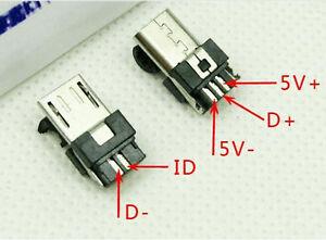 Micro-USB-T-Port-Male-5-Pin-Plug-Socket-Connecteur-Plastique-Cover-pour-DIY-FG