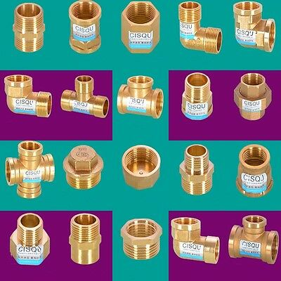 1pc Copper Brass Water Pipe Fitting Straight Coupling Connector M-Male Reducer