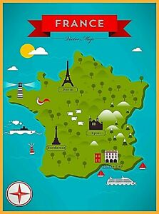 Map Of France Eiffel Tower.Map Of Paris France Eiffel Tower Notre Dame Retro Travel Art Poster