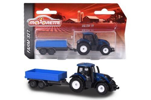 Neu Farm Blau Majorette 212057430Q02 Valtra T4 Traktor mit Anhänger