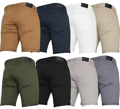 Mens New Von Denim Stretch Chino Smart Casual Work Gym Summer Shorts Half Pants