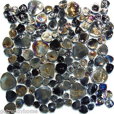 1SF-Black Iridescent Random Pattern Glass Mosaic Tile Backsplash Kitchen Spa